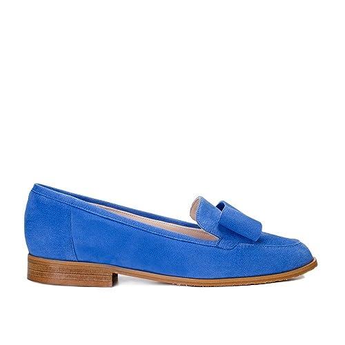 GENNIA Damaris Azul Claro - Mocasines para Mujer de Piel Ante y con Mini Tacón de 1 cm. Talla 33 a 45.: Amazon.es: Zapatos y complementos