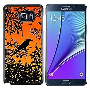 Be-Star Único Patrón Plástico Duro Fundas Cover Cubre Hard Case Cover Para Samsung Galaxy Note5 / N920 ( Arbre Branche Oiseau Rainforest Sunset séance )