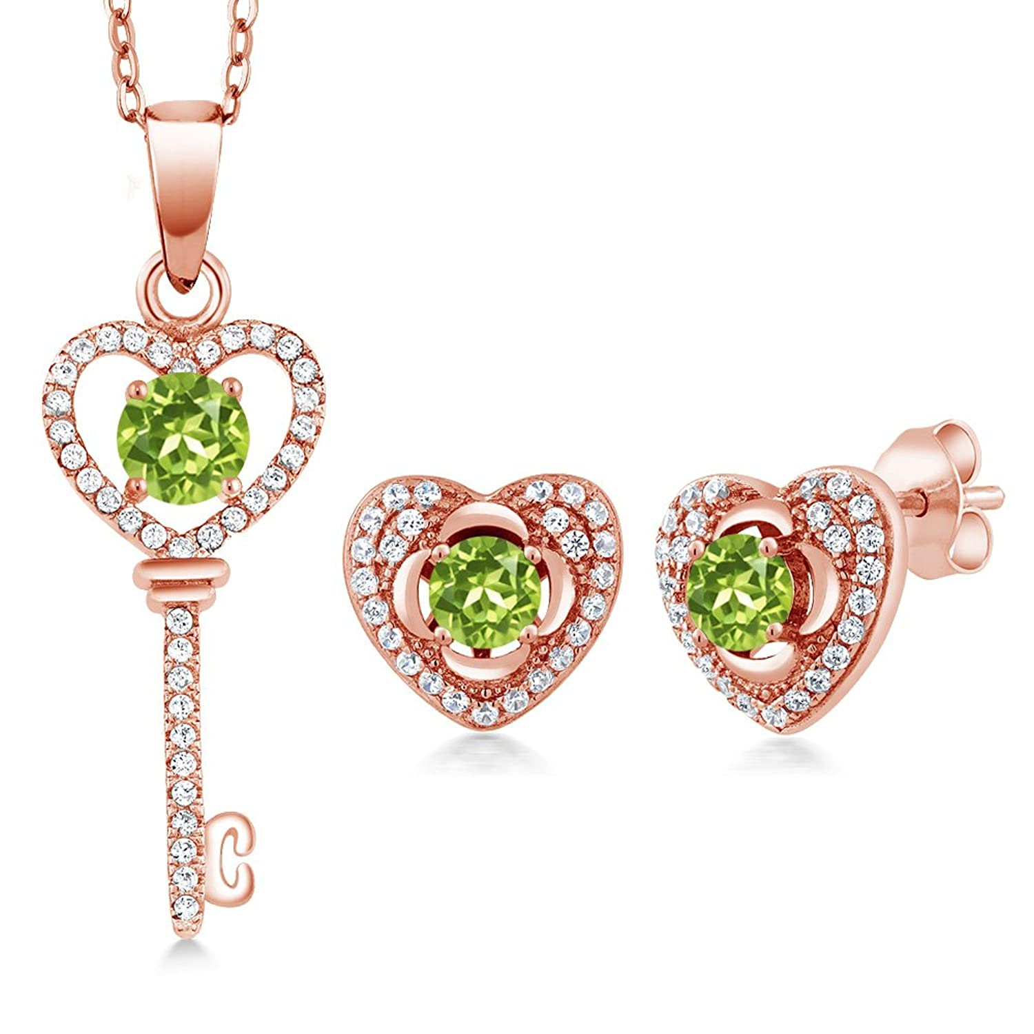 2.17 Ct Round Green Peridot 18K Rose Gold Plated Silver Pendant Earrings Set