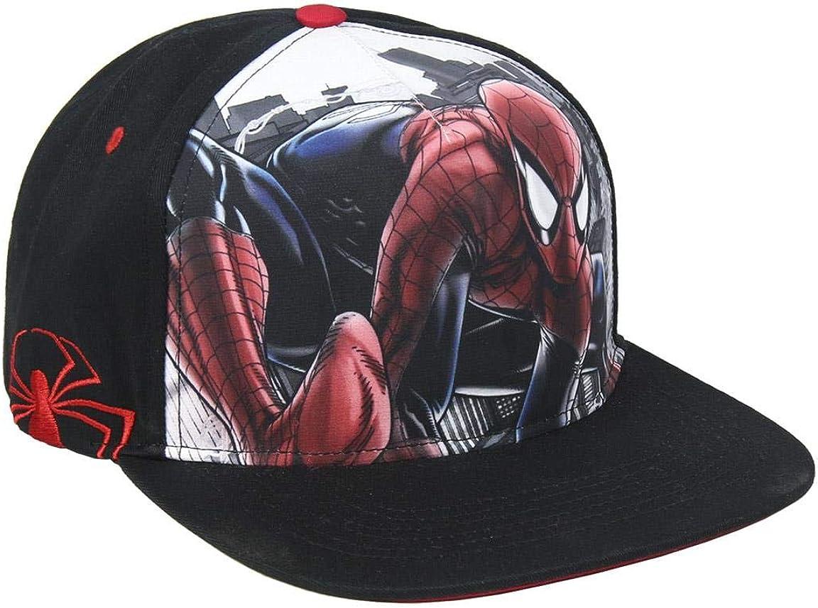 ARTESANIA CERDA Gorra Visera Plana de Spiderman, Negro (Negro ...