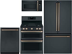 """GE CAFE 4 Piece Kitchen Package with CWE23SP3MD1 36"""" Smart Fridge, CGB550P3MD1 30"""" Smart Gas Range, CVM517P3MD1 30"""" Over the Range Microwave and CDT836P3MD1 24"""" Built In Dishwasher in Matte Black"""