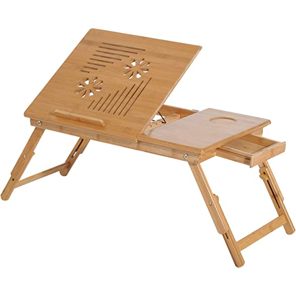 HOMCOM Mesa de Ordenador Portátil Bambú Bandeja de Cama Desayuno ...