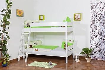Etagenbett Holz 90x200 : Kinderbett etagenbett johann buche vollholz massiv weiß lackiert