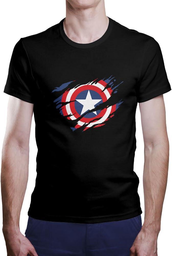 OKAPY Camiseta Capitan America. Una Camiseta de Hombre con el Escudo de Capitán América Rasgado.Camiseta Friki de Color Negro: Amazon.es: Ropa y accesorios