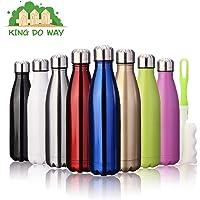 king do way Doppia Parete Bottiglia Termica per Vuoto in Acciaio Inossidabile per Mantenere Caldo e Freddo, con Spazzola di Pulizia, 500ml