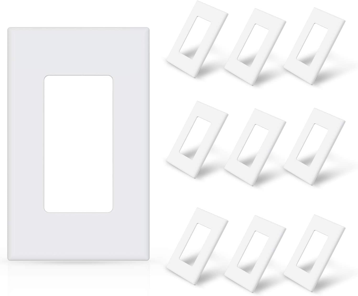 ELEGRP 1-Gang Screwless Decorative Wall Plates, Standard Size Unbreakable Thermoplastic Faceplate Cover for Decorator Receptacle Outlet Switch, UL Listed (10 Pack, Glossy White)