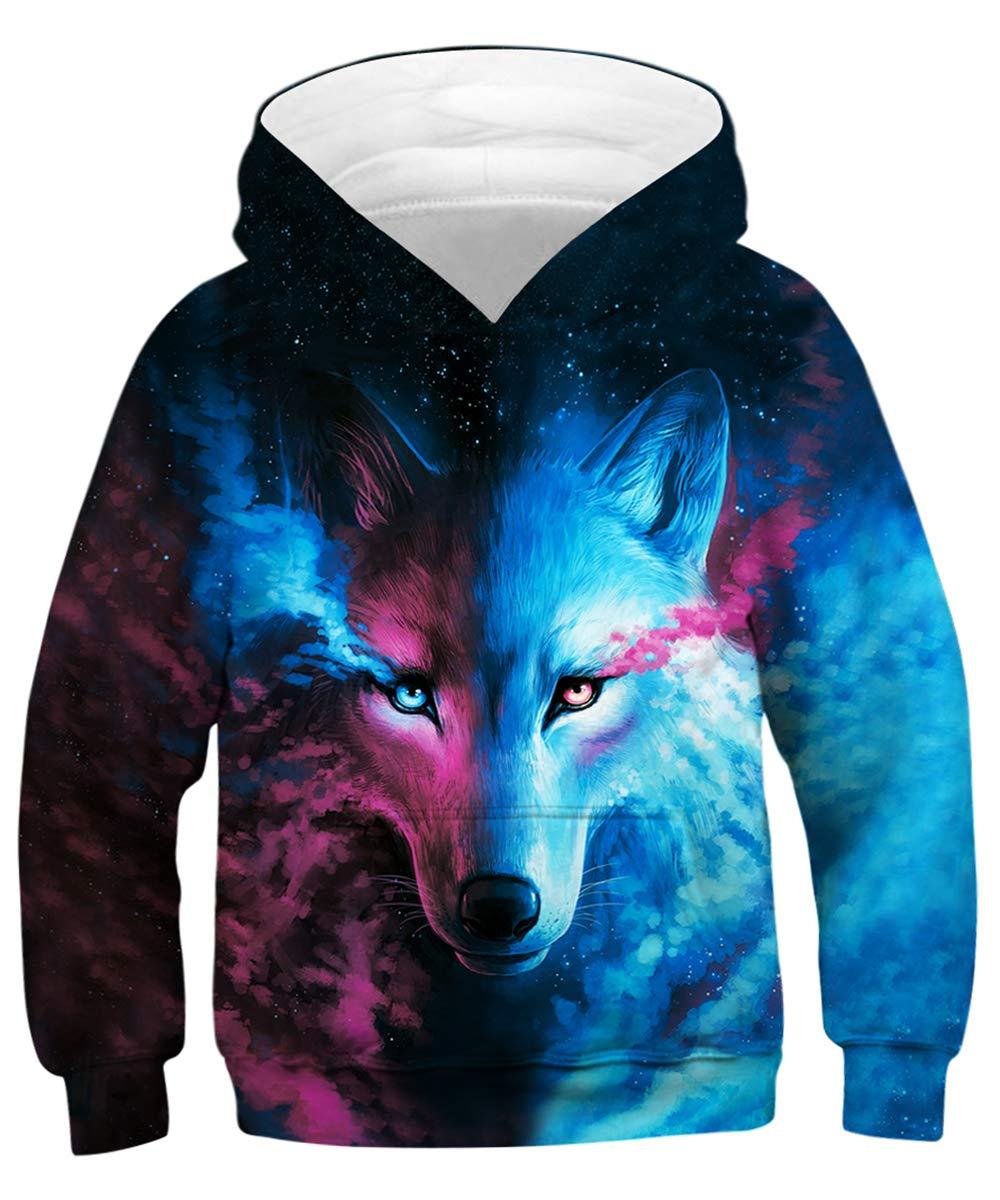 GLUDEAR Teen Boys Girls Novelty Animal Galaxy Hoodies Sweatshirts Pullover 4-16Y,Blue Wolf,8-11 Years