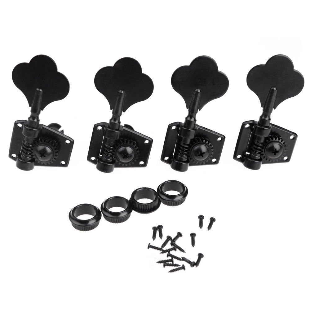 Musiclily 4 in-line Bass Vintage Open Gear Tuners Tuning Keys Pegs Machine Head Right Hand Set for Fender Precison Jazz PB JB Bass Guitar, Black