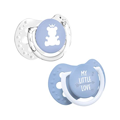 LOVI My Little Love - Pack de 2 mini chupetes dinámicos, talla 0-2 meses, color azul