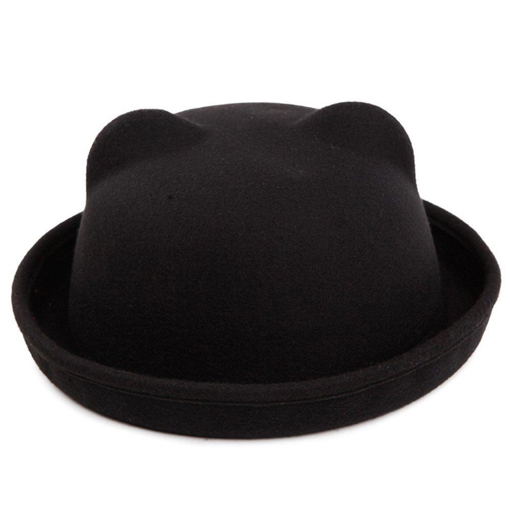 TININNA Carino Gatto Orecchio brim rotolo bombetta Cappello Roll-up tesa cappello Inverno in feltro di lana floscio Berretto per bambini Cammello