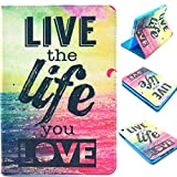 for iPad Mini Case,Live The Life You Love Design Book Style Folio With Stand Protection Magnetic Smart Slim Full Body Extreme Duty Dual Protective Back Cover with Kickstand - Rainproof Sand Proof Dust-proof Shockproof(Latest Version with Built-in Magnet for Sleep/wake Feature)Fashion Vintage Design Flip Pu Leather Smart Cute Stand Case,Full Body Protective Case Cover for Apple iPad Mini / Mini 2 / Mini 3