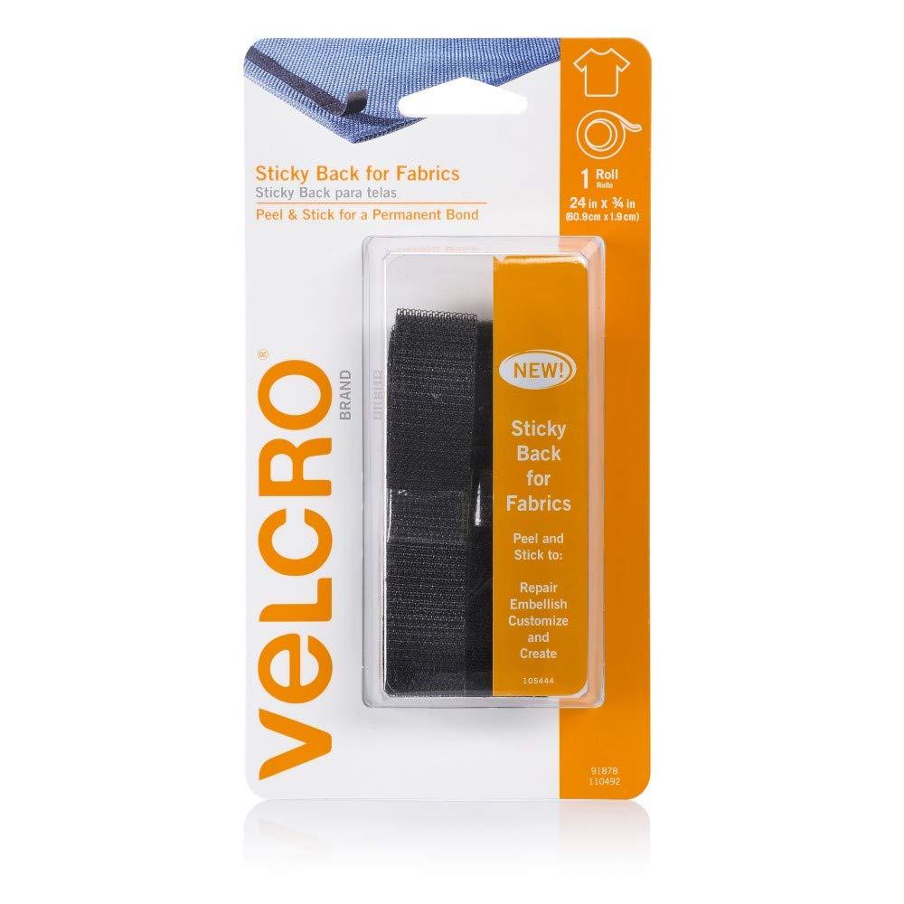 VELCRO Brand - Sticky Back for Fabrics: No sewing needed - 24 x 3/4 Tape - Black Velcro USA Inc. 91878