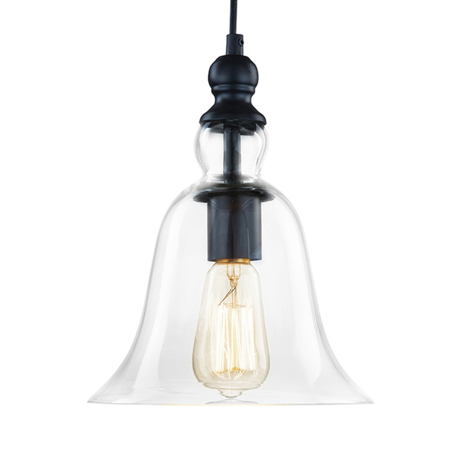 CLAXY Ecopower 1 Light Vintage Hanging Big Bell Glass Shade ...