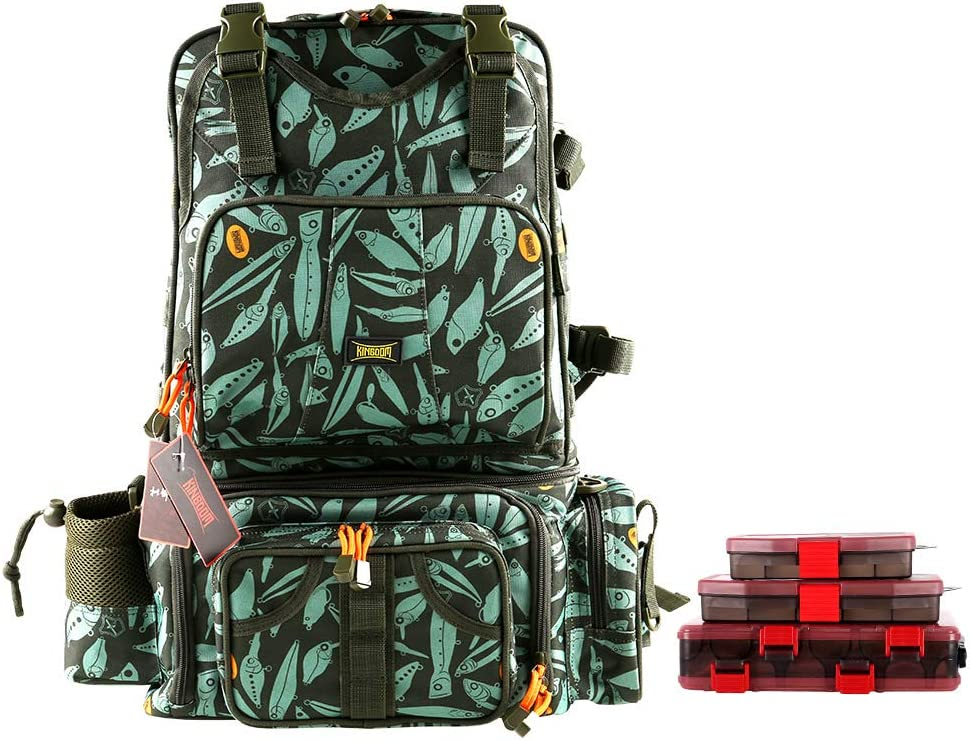Kingdom Fishing Bag Men's Multifunctional Messenger Bag Backpack is Vintage and Multifunctional Mountain Travel Swim Outdoor Sport Bag with Three Fishing Box (Khaki)…