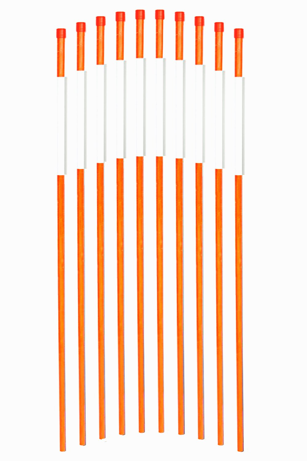 FiberMarker Solid Reflective Driveway Markers 48-Inch Orange 100-Pack 5/16-Inch Dia Driveway Poles for Easy Visibility at Night