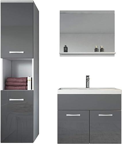Armoire de Rangement Meuble lavabo evier Meubles Meuble de Salle de Bain Montreal 60 cm lavabo Noir Brillant Badplaats B.V