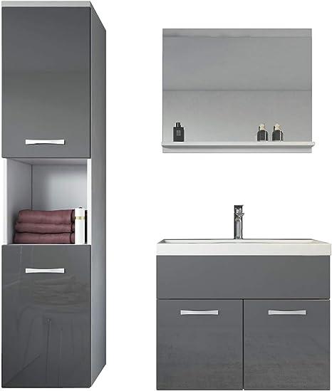Badezimmer Badmobel Set Montreal 60 Cm Waschbecken Hochglanz Grau Fronten Unterschrank Hochschrank Waschtisch Mobel Amazon De Kuche Haushalt