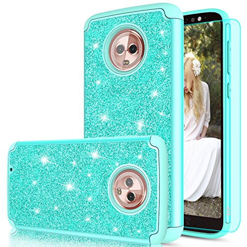 with HD Screen Protector for Girls Women,LeYi Fashion Sparkly Bling Dual Layer Hybrid Shockproof Protective Phone Cover Case for Motorola G (6th Generation) TP Mint ()