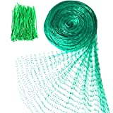 Senneny Bird Netting, 33Ft x 13Ft Anti-Bird Netting 100 Pcs Nylon Cable Ties, Green Garden Netting Protecting Plants Fruit Trees from Rodents Birds Deer
