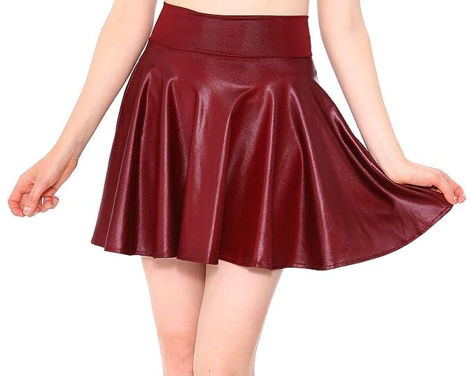 c8c932424 Simplicity Women's High Waisted A Line Pleated Short Skater Skirt, Burgundy,  ...