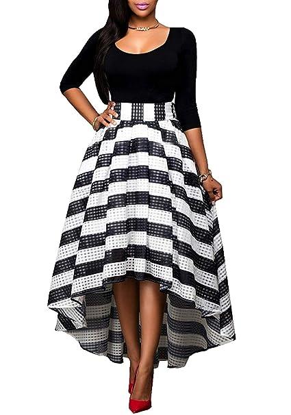 3e51ff25daf1 Minetom Donna Elegante Manica A 3 4 Dress Strisce in Bianco E Nero Maxi  Vestito Long Gonna 2 Pezzi Cerimonia Banchetto  Amazon.it  Abbigliamento