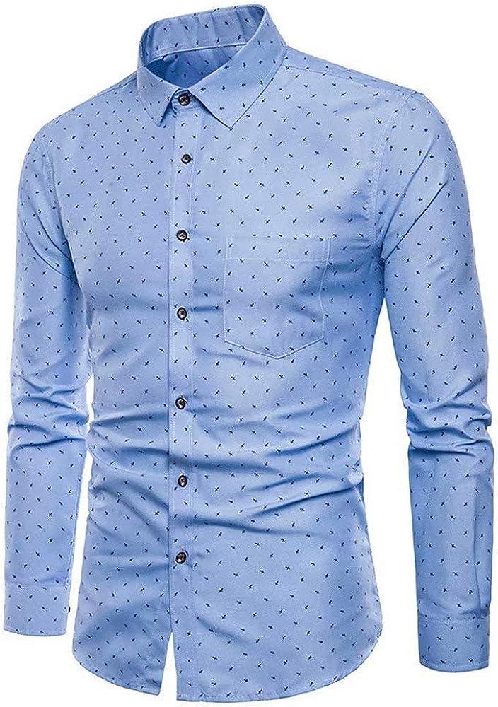 Camisa De Manga Larga De Oxford De Hombres para Manga Larga Formal Cómodo Blusa Camisa De Solapa De Moda Blusas De Oficina De Negocios De Otoño Tops (Color : Blau, Size :