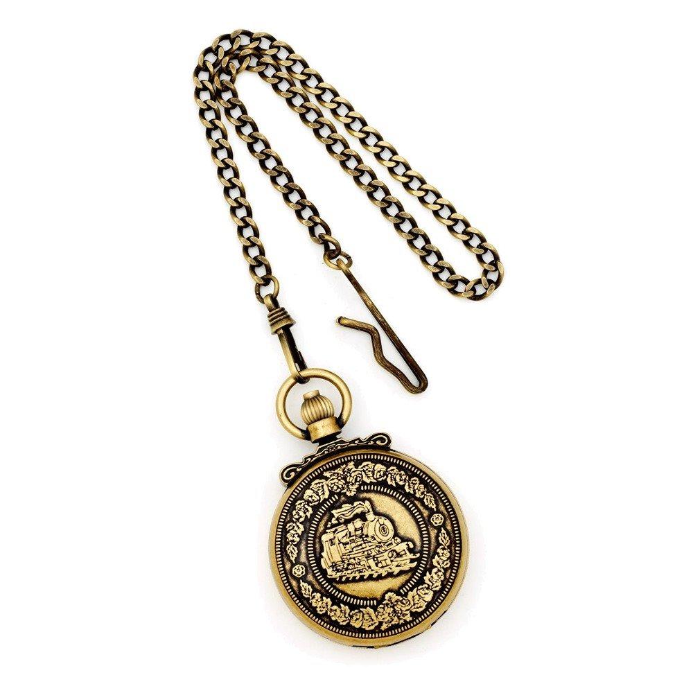 Charles Hubert Antique Gold Finish Steam Engine Pocket Watch