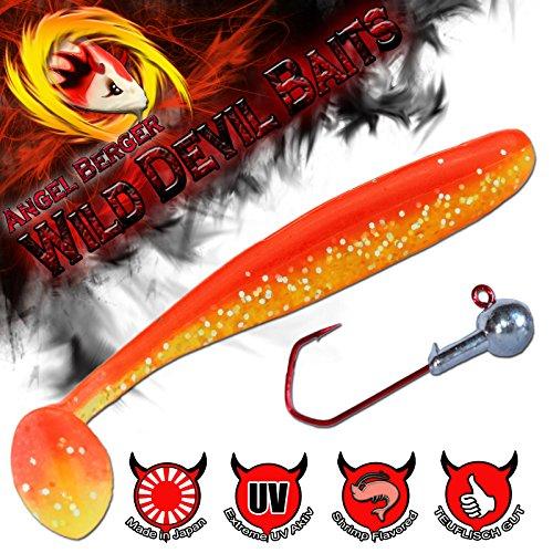 Wild Devil Baits Swing Shad Gummifisch mit Jighaken (Red Devil, 10cm)