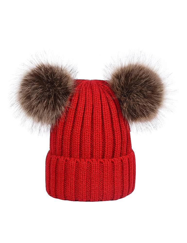 Wanture Winter Women's Winter Knit Wool Beanie Hat with Double Faux Fur Pom Pom Ears W-DT-MZ9013-Beige-Free