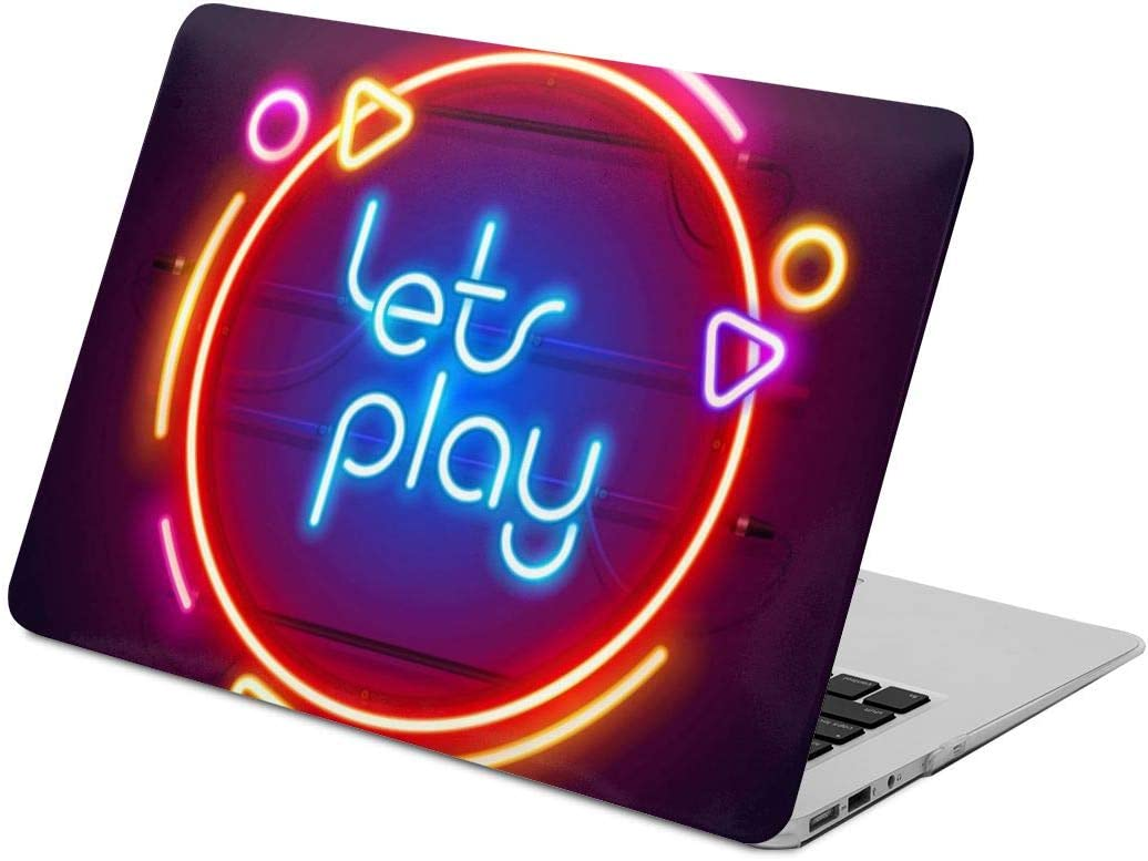 Round Colorful neon Lets Play Sign Laptop Case Scratch Resistan Laptop Case Cover Fashion Fully Protect Computer Plastic Case Hard Shell Cover Laptop Sleeve Case for air13