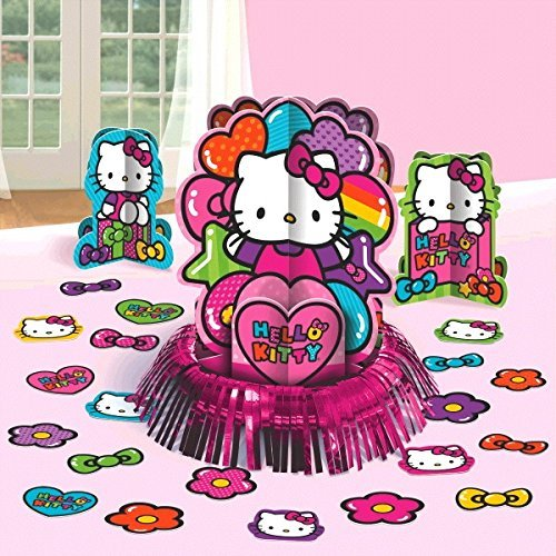 New Hello Kitty Rainbow Party Table Decorations Kit ( Centerpiece Kit ) 23 PCS - Kids Birthday and Party Supplies Decoration ()