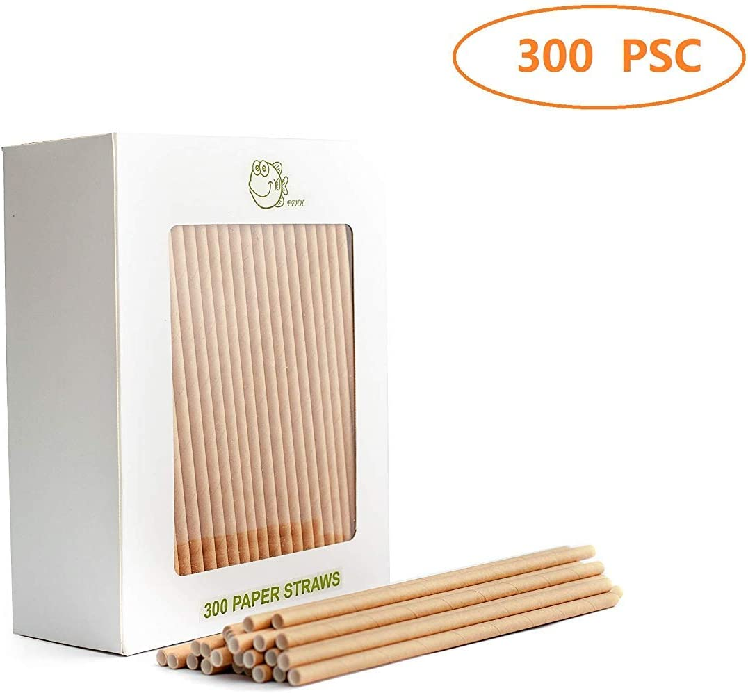 Naturalik 300-Pack Biodegradable Paper Straws Dye-Free- Premium Eco-Friendly Paper Straws Bulk- Drinking Straws for Juices 7.7 Restaurants and Party Decorations Red, 300ct Smoothies