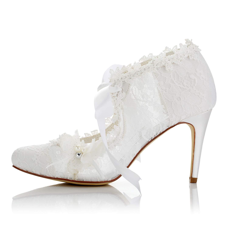 2ce472fb4113 Amazon.com | JIAJIA 16798 Women's Bridal Shoes Closed Toe High Heel Lace  Satin Pumps Pearl Bowknot Ribbon Tie Wedding Shoes | Pumps
