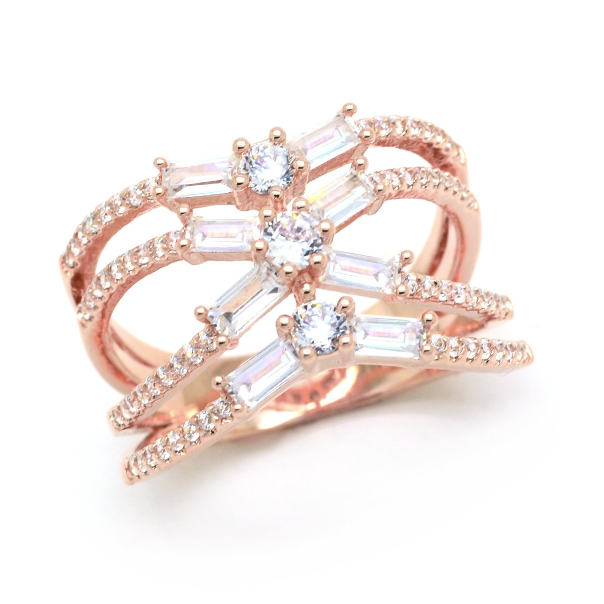 Sparkly Bride CZ Statement Ring Criss Cross Rose Gold-Flashed Baguette Women Fashion