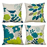 Heyhousenny Decorative Throw Pillow Covers Floral Cushion Covers Square Outdoor Pillowcase for Sofa Home Set of 4, Green Flower, Bird
