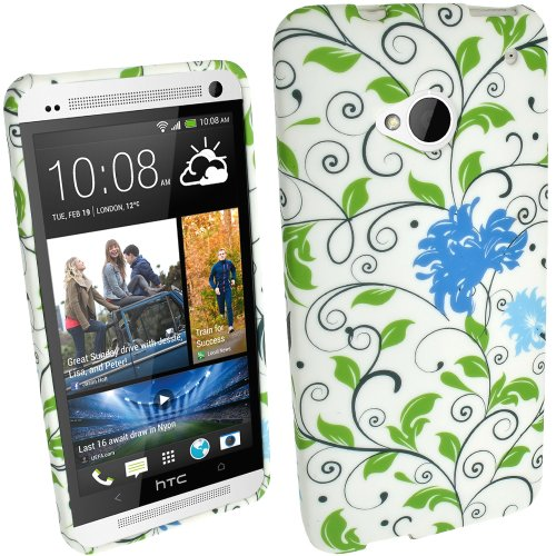 Image of iGadgitz FLORAL COLLECTION: Blue Flower Pattern TPU Case Cover with