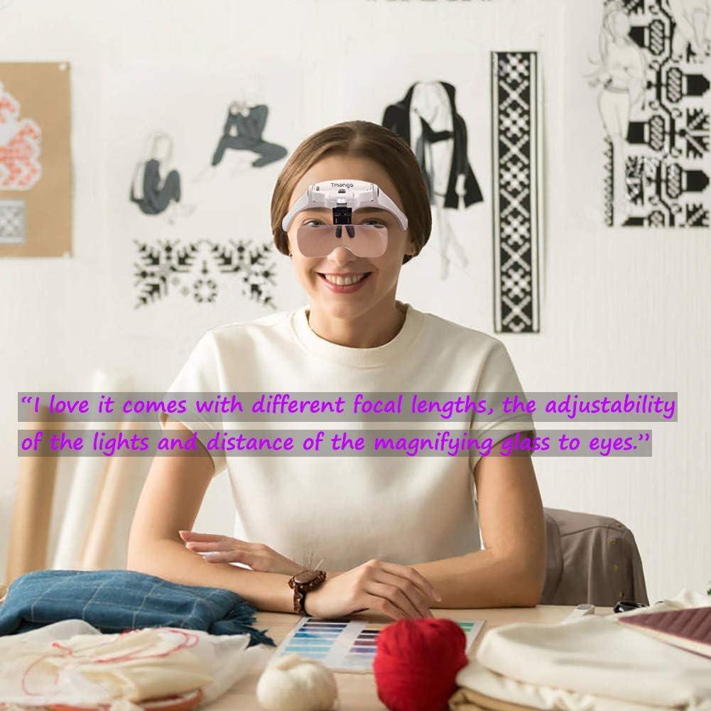 Schmuck TMANGO Kopfhalterung Lupe mit LED-Lichtern austauschbare Halterung und Stirnband f/ür Uhren-Reparatur wiederaufladbare Headset-Lupe f/ür Nahaufnahmen Kunst /& Handwerk oder Lesehilfe