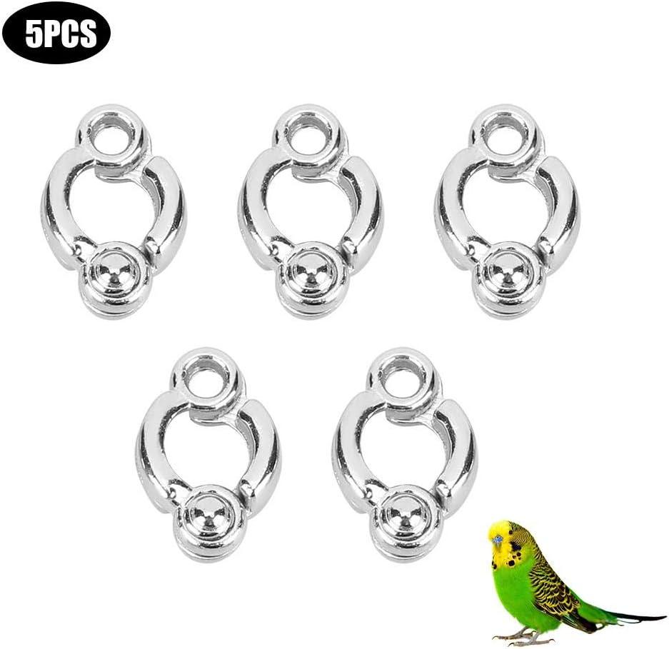 5 anillos para patas de loro, cadena de metal para mascota, pájaro, actividad, apertura, entrenamiento, accesorios para loros, jaula de suministros