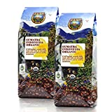Java Planet - Sumatra Indonesian USDA Organic Coffee Beans, Dark Roasted, Fair Trade, Arabica Gourmet Specialty Grade A - 2 1lb bags
