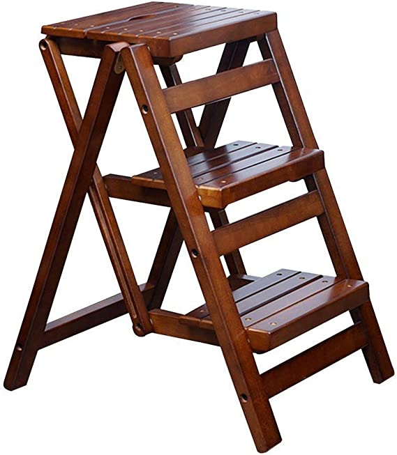 BOC De madera maciza de 3 taburete de paso, Escalera plegable de múltiples funciones, antideslizante acolchada pedal Inicio japonesa silla de la escala de madera, de almacenamiento, puesto de flores,: Amazon.es: Bricolaje