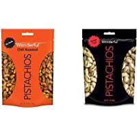 Wonderful Pistachios, No Shells, Chili Roasted, 5.5 Ounce Resealable Pouch & Sweet Chili Flavored, 7 Ounce Resealable Pouch
