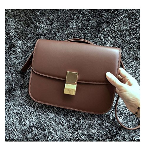Handbag Crossbody Women's Dark Brown Genuine Messenger Leather JeHouze XAxz7fqx