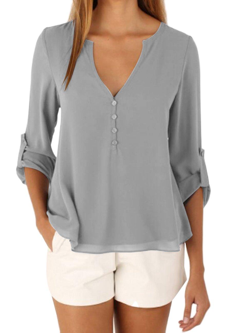OMZIN Womens Tunics Tops, Notch Neck Cuffed Sleeve Blouses Shirt Tunic Gray XL