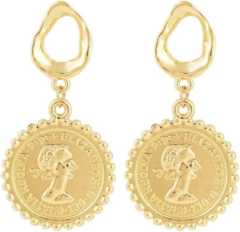 NOLOGO Pendientes exagerados Pendientes de aleación de Oro Perla barroca Retro Pendientes de Monedas de Retrato de Avatar Joyería Nupcial (Color : Hole Gold Coin)