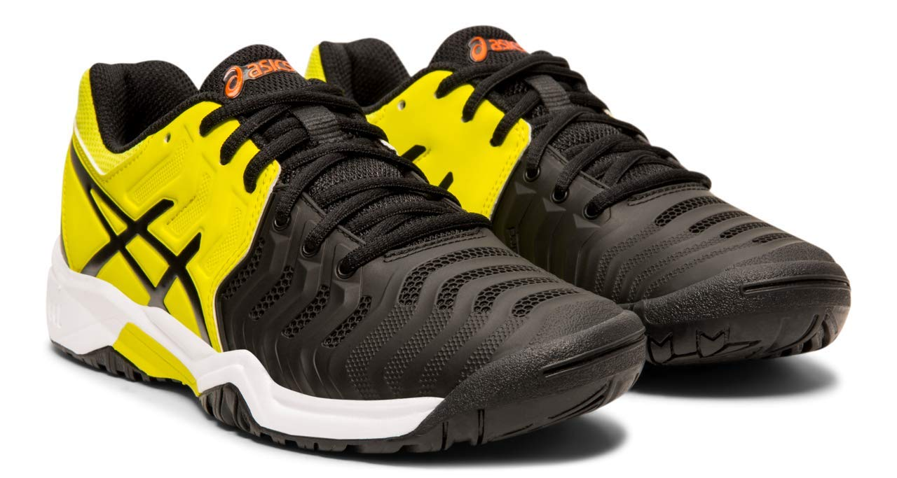 ASICS Kids' Gel-Resolution 7 GS Tennis Shoe, Black/Sour Yuzu, 5 M US Big Kid