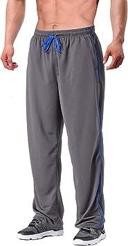 EKLENTSON M/änner Traininghose Jogginghose mit Rei/ßverschlusstaschen Mesh-Struktur Offenen Unterseite Sporthose
