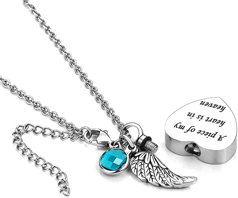 I Used to Be His Angel Now Hes Mine Jesse Ortega Angel Wing Urn Necklace for Ashes Mom Dad Grandma Cremation Jewelry Keepsake Memorial Pendant
