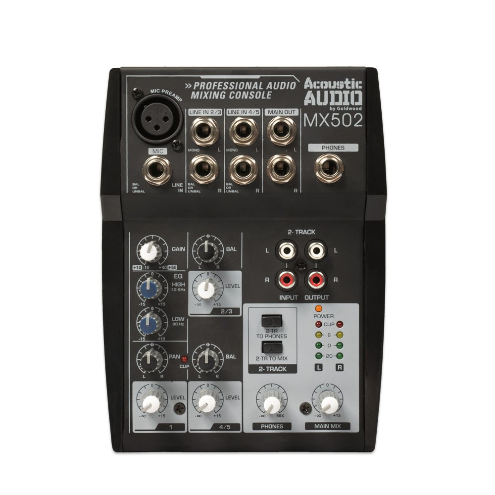 Acoustic Audio MX502 Mixer 5 Channel Premium Pro Audio Mixing Console Goldwood Sound Inc.