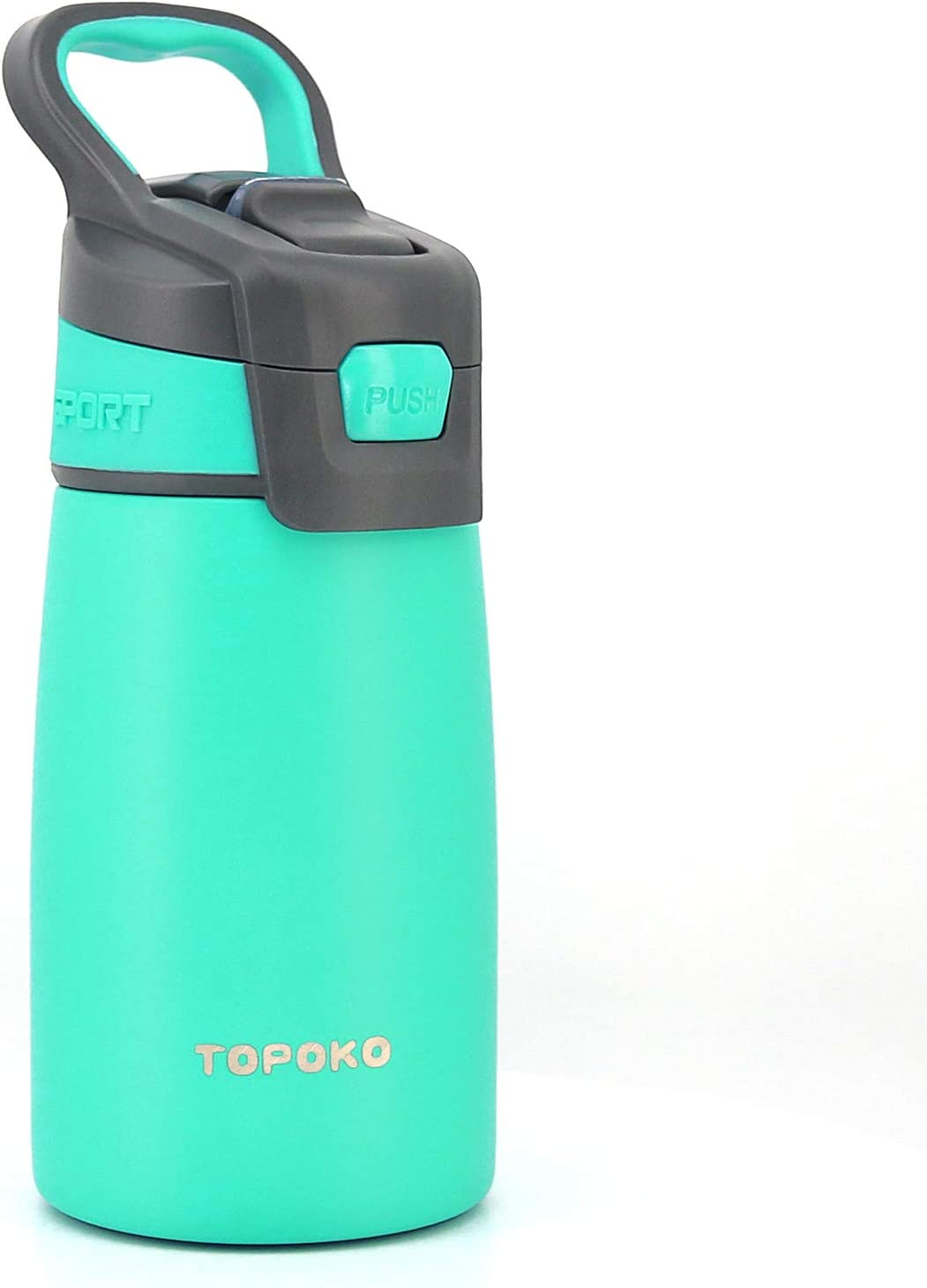 AUTO FLIP 12 OZ Stainless Steel Kids Water Bottle for Girls Double Wall Beverage Carry Kid Cup Vacuum Insulated Leak Proof Thermos Handle Spout BPA-Free Sports Bottle for Boys (Mint)