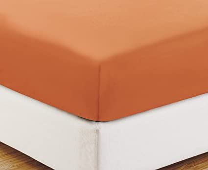 QUEEN Size, ORANGE Solid Fitted Bed Sheet   Super Silky Soft   SALE   High